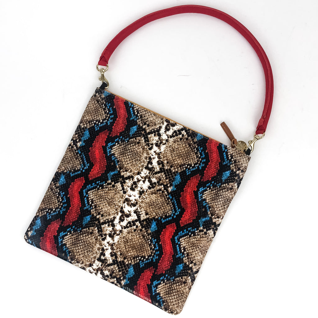 Clare V. - Foldover Clutch with Tabs (Garden Snake)  & Tubular Shoulder Strap (Cherry Red)