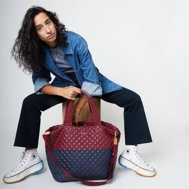 MZ Wallace - Large Metro Tote Deluxe (Maroon/Dawn)