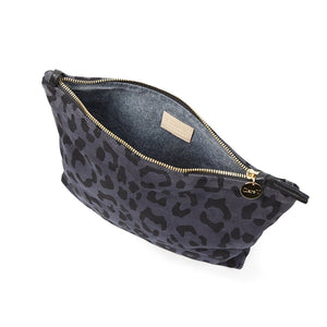 Clare V. - Foldover Clutch with Tabs (Marine Pablo Cat Suede) and Tubular Shoulder Strap (Black)