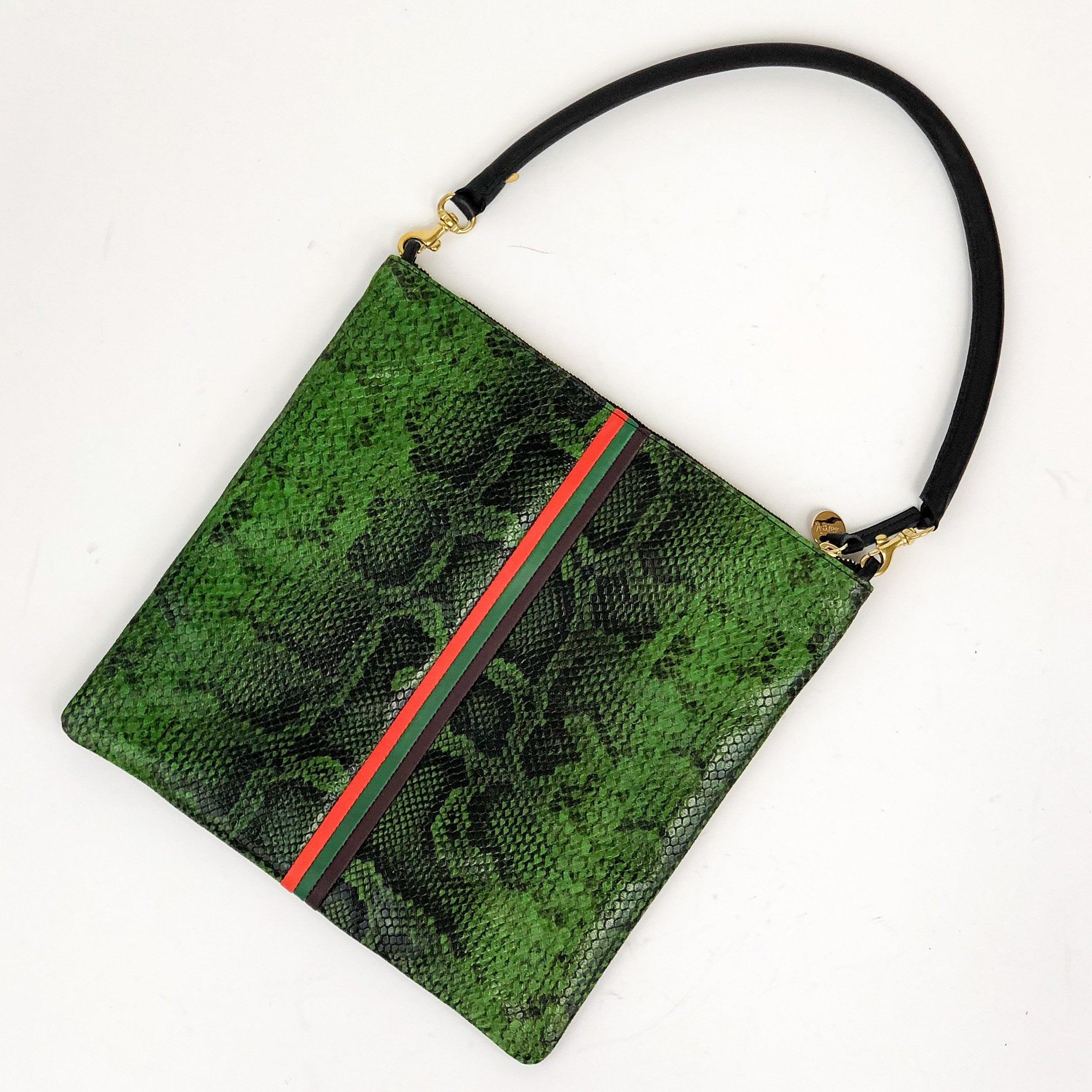 Clare V. - Foldover Clutch with Tabs and Black Tubular Shoulder Strap (Fern Mirco Snake with Stripes)