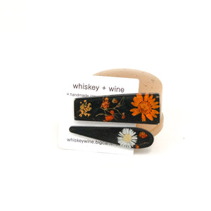 Whiskey + Wine - Hair Clips (Floral Orange)