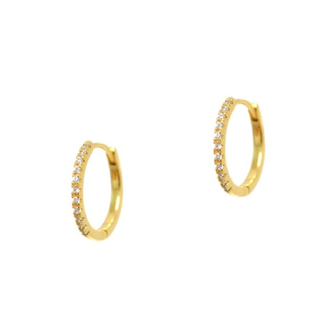 Tai - Mini Huggie Earring With Cz All Around (gold)