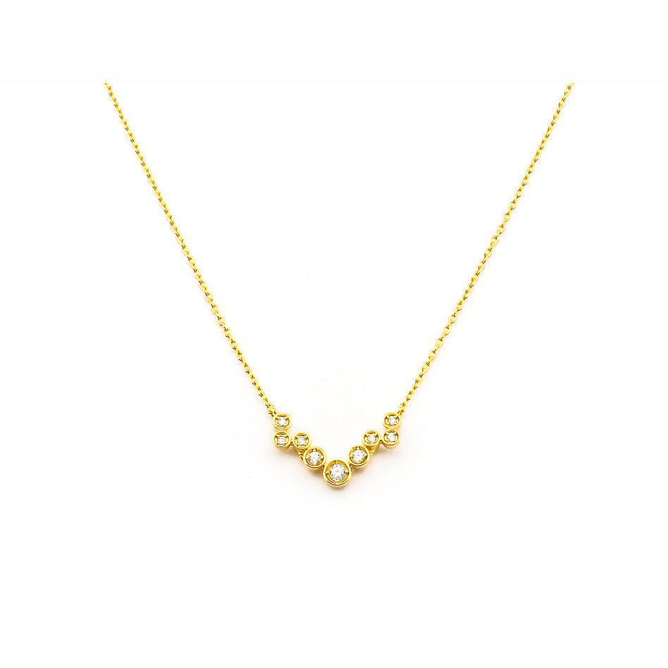 Tai - Simple Chain Necklace With Mini Cz Clutter In Center
