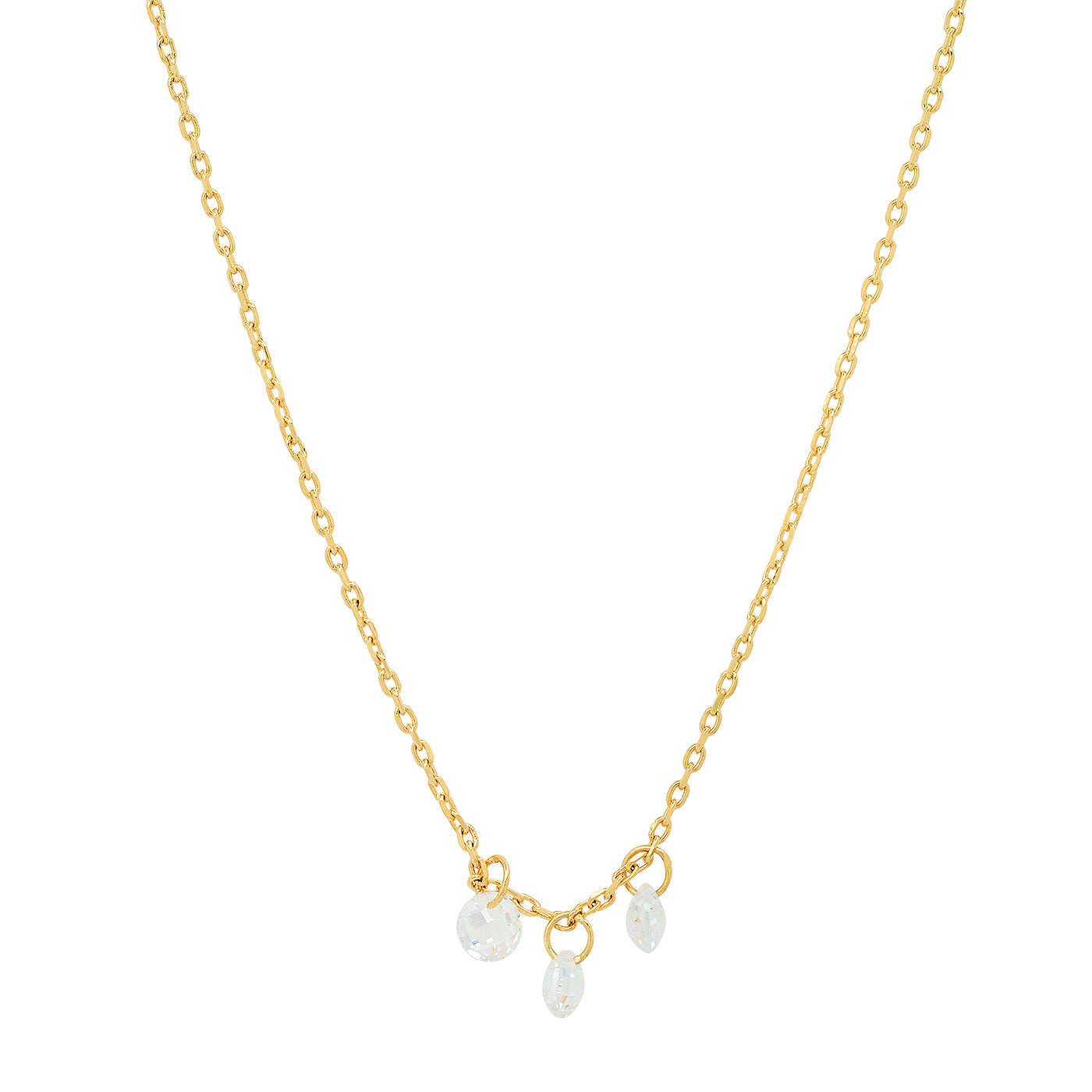 Tai - Necklace with Three Floating CZ's (gold)