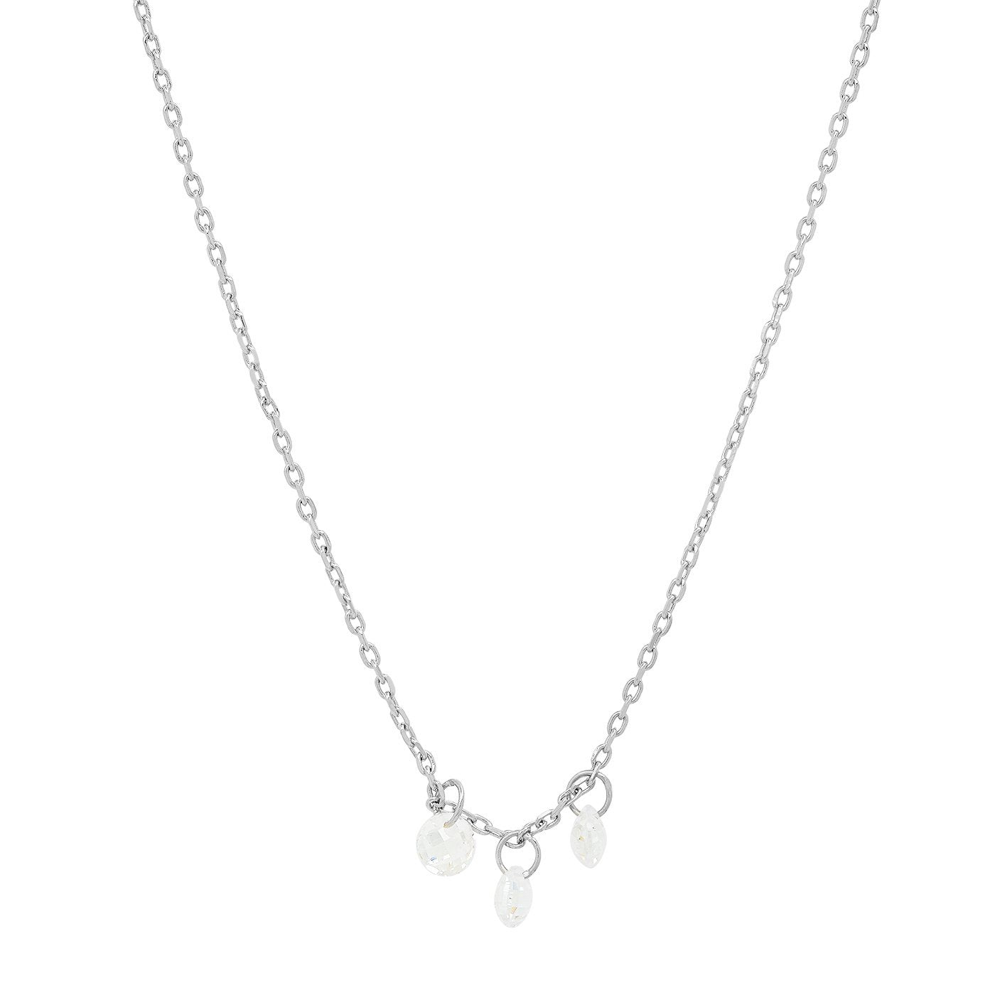 Tai - DELICATE CHAIN NECKLACE WITH THREE FLOATING STONES (Silver)