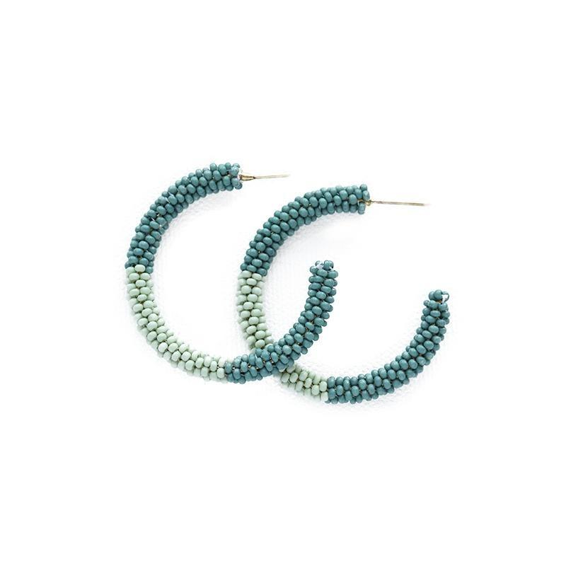 Ink + Alloy - Small Beaded Hoop (Teal & Mint)