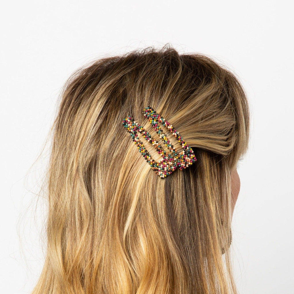 Ink + Alloy - Muted Confetti Beaded Barrette
