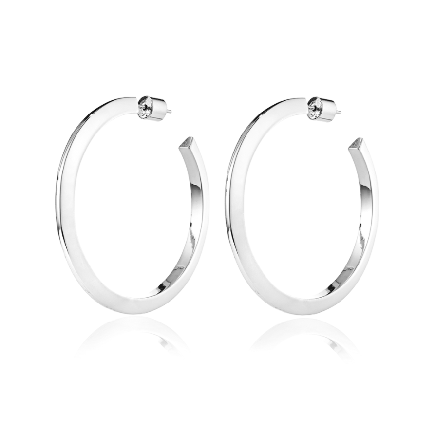 Jenny Bird -  Large Toni Hinged Hoops (silver)