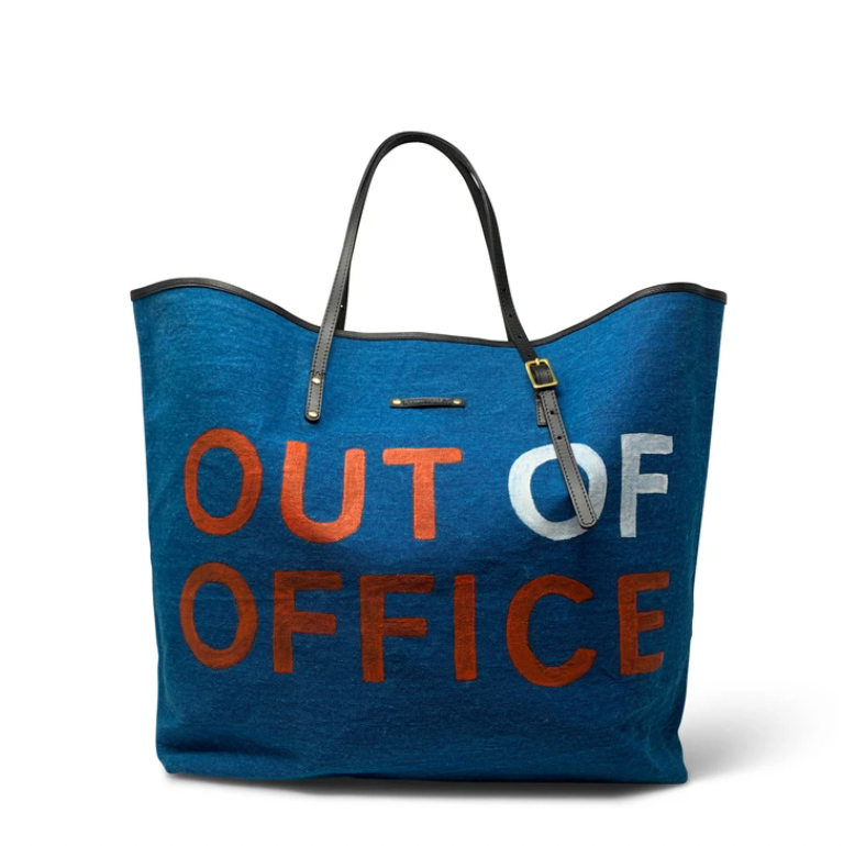 Kempton & Co. - Out of Office Handpainted Tote (Ocean/Coral)