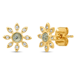 Tai - Dainty CZ and Rock Crystal Flower Stud