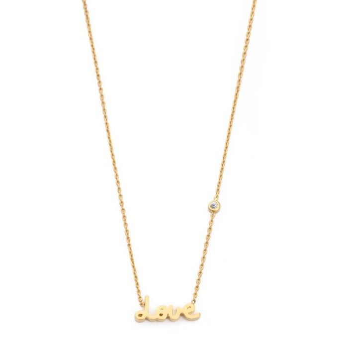 Tai - Simple Chain Love Necklace With Three Cz