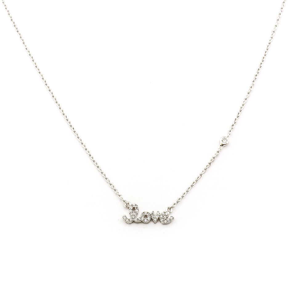 Tai - Simple Chain Necklace With Cz Love And One Cz (silver)