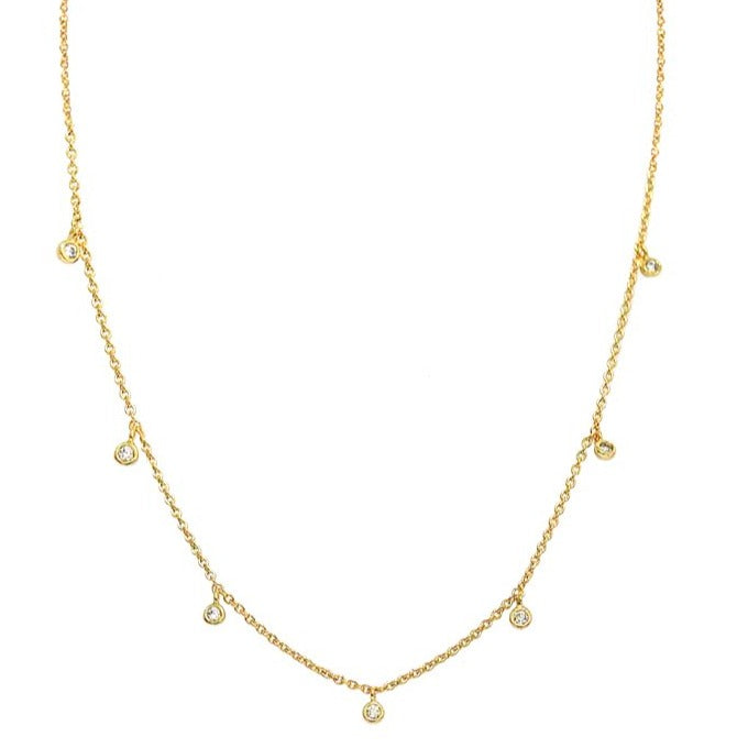 Tai - Necklace with Seven CZ Charms (gold)