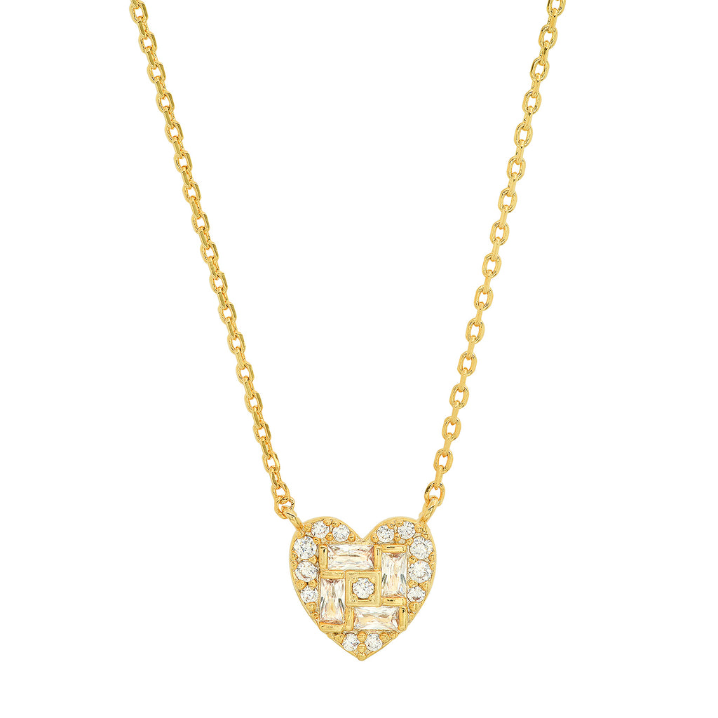 Tai - Heart Baguette Necklace with CZ