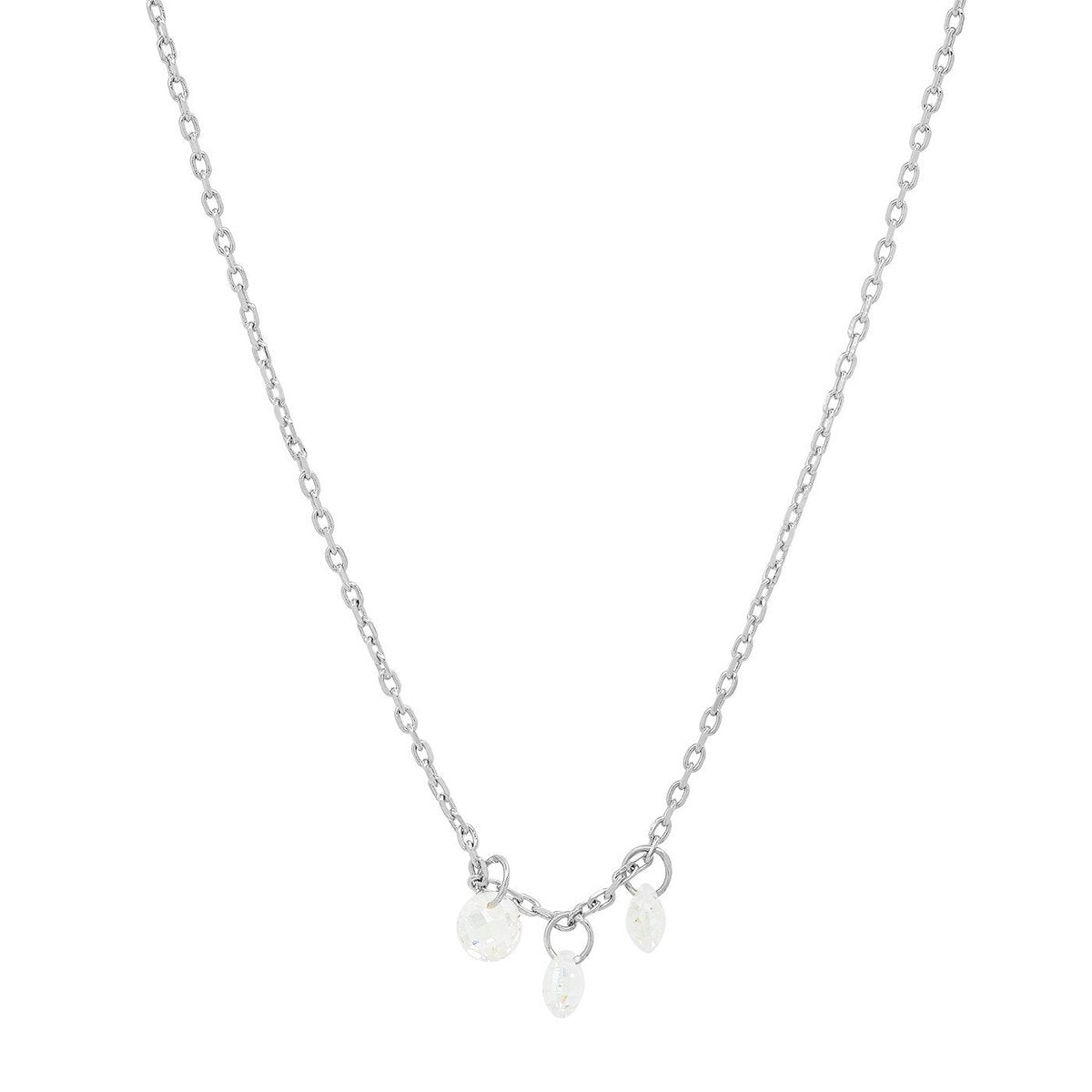 Tai - Necklace with Three Floating CZ's (silver)
