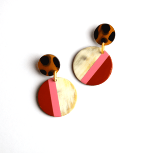 Sunshine Tienda - Mustard Rose Circle Earrings