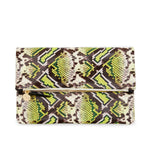 Clare V. - Foldover Clutch with Tabs (yellow riveria snake) and Tubular Shoulder Strap (Black)