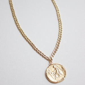 Katie Waltman - Gold Textured Snake Chain Necklace with Greek Coin