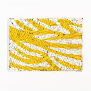 Ink + Alloy - Beaded Clutch (Yellow Zebra)
