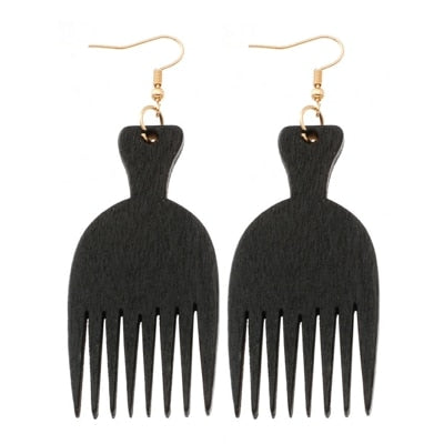 Wooden Comb Earrings for African Fashion Women's Jewelry