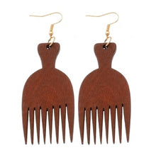 Load image into Gallery viewer, Wooden Comb Earrings for African Fashion Women's Jewelry