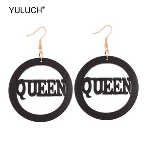 YULUCH 2019 Ethnic Big Round Wooden Hollow Letter Queen Drop Earrings African Wood Chip Pendant Earrings For Women Lady Girls