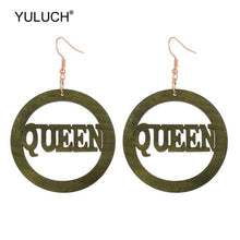 Load image into Gallery viewer, YULUCH 2019 Ethnic Big Round Wooden Hollow Letter Queen Drop Earrings African Wood Chip Pendant Earrings For Women Lady Girls