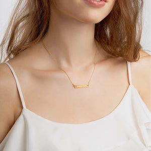 """Peace Out"" Engraved Bar Chain Minimalist Necklace"