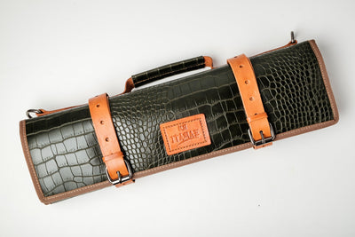 Moss Green Croc Leather Knife Bag Itamae