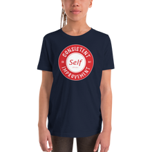 Load image into Gallery viewer, Consistent Self Improvement Youth T-Shirt (Red Logo)