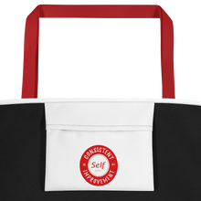 Load image into Gallery viewer, Consistent Self Improvement White Beach Bag (Red Logo)