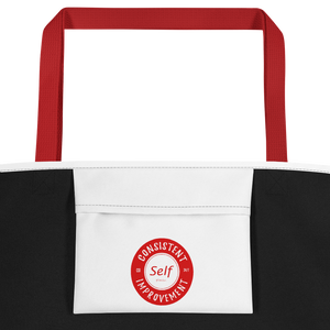 Consistent Self Improvement White Beach Bag (Red Logo)