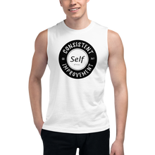 Load image into Gallery viewer, Consistent Self Improvement Men's Muscle Shirt (Black Logo)