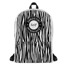Load image into Gallery viewer, Consistent Self Improvement Backpack Zebra Pattern (Black)