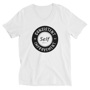 Consistent Self Improvement Men's V-Neck T-Shirt (Black Logo)