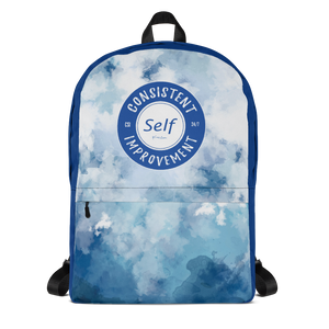 Consistent Self Improvement Backpack (Blue Logo)