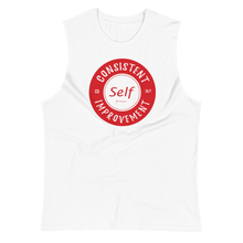 Load image into Gallery viewer, Consistent Self Improvement Men's Muscle Shirt (Red Logo)