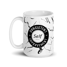 Load image into Gallery viewer, Consistent Self Improvement Marble Pattern Mug (Black)