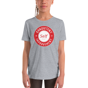 Consistent Self Improvement Youth T-Shirt (Red Logo)