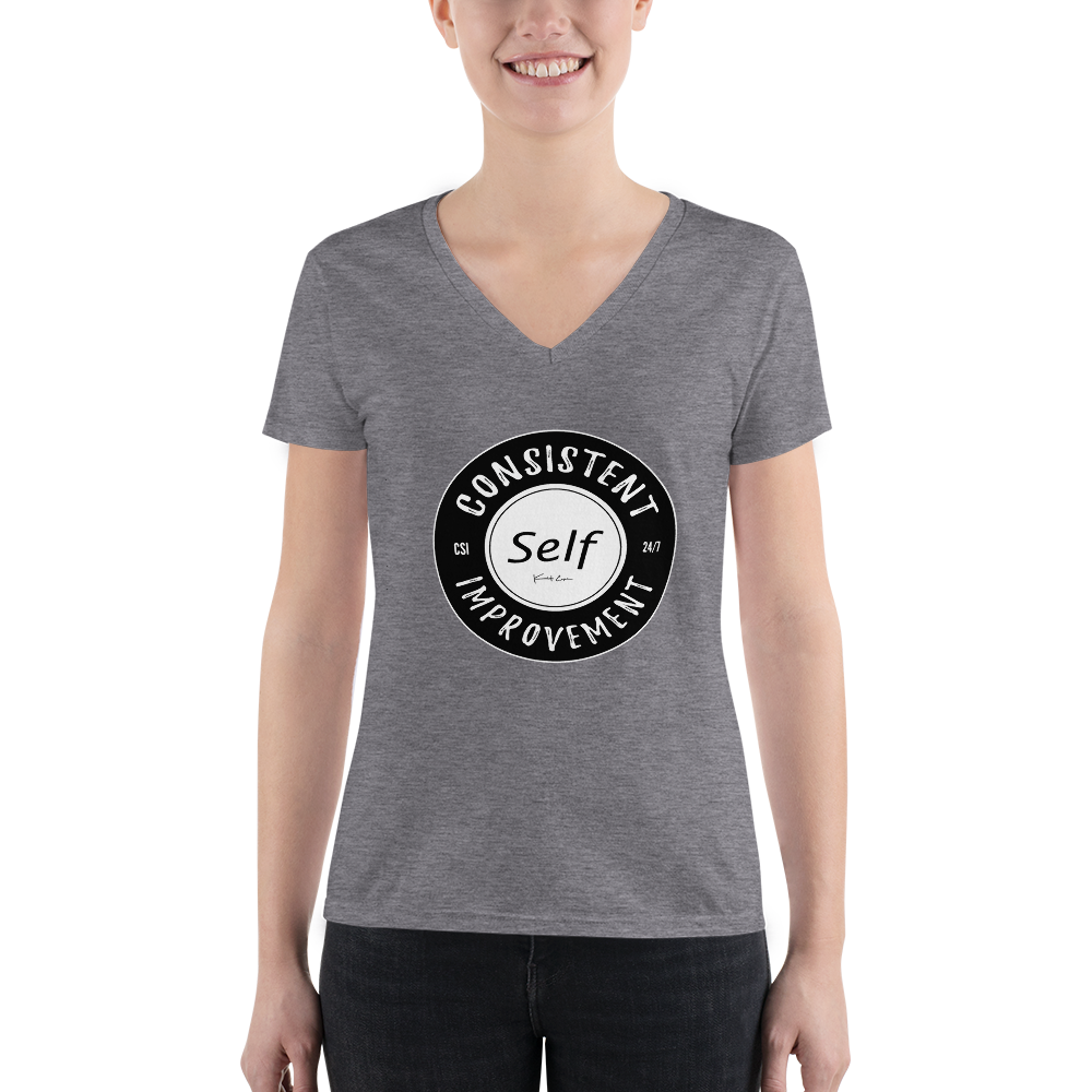 Consistent Self Improvement Women's V-neck T-Shirt (Black Logo)