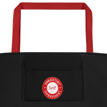 Load image into Gallery viewer, Consistent Self Improvement Black Beach Bag (Red Logo)
