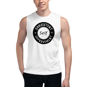 Consistent Self Improvement Men's Muscle Shirt (Black Logo)