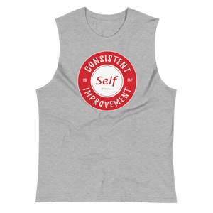 Consistent Self Improvement Men's Muscle Shirt (Red Logo)
