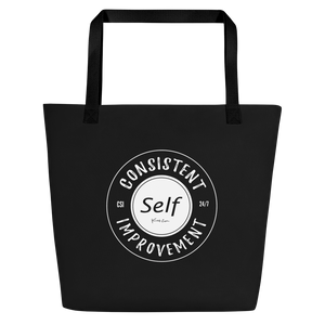 Consistent Self Improvement Black Beach Bag