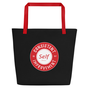 Consistent Self Improvement Black Beach Bag (Red Logo)