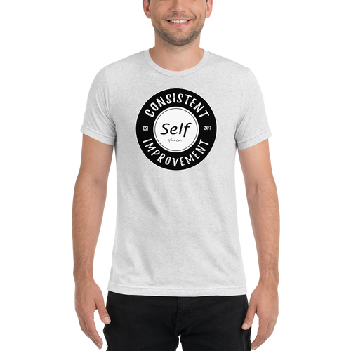 Consistent Self Improvement Tri-Blend T-shirt (Black Logo)