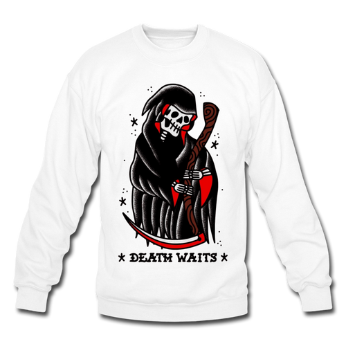 Death Waits Sweater - white