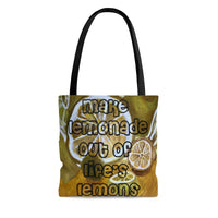 Make Lemonade Out of Life's Lemons Tote Bag, Grocery Bag, Teacher Tote, Reusable Bag, Beach Bag