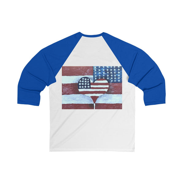 Unisex 3/4 Sleeve Baseball Tee, Baseball Shirt, Independence Day Shirt of American Flag Love by EFK