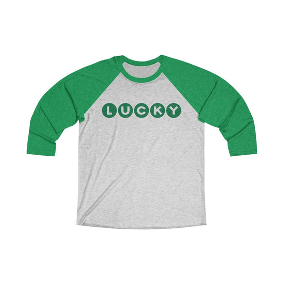 Lucky St Patricks Day Unisex Tri-Blend 3/4 Raglan Tee